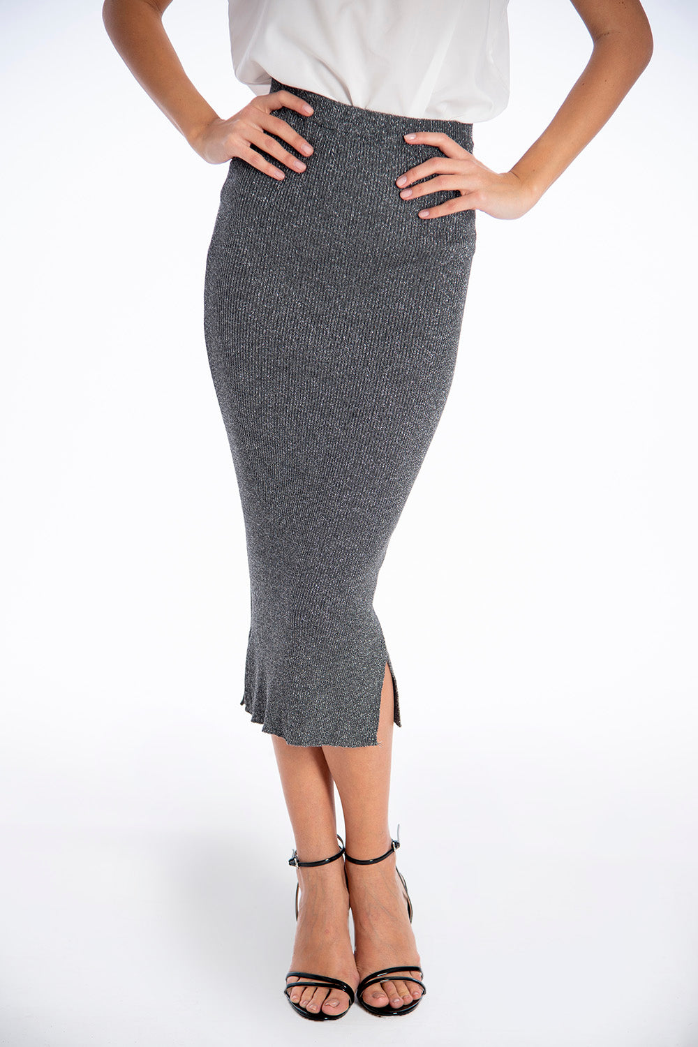 Infinity Knitwear knitted midi skirt with side split