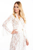MYA lace maxi boho kimono dress with waist wrap