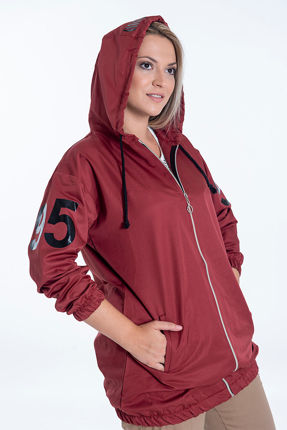 Long jacket with baby girl text in hood