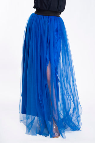 Tulle maxi pleated leg split skirt