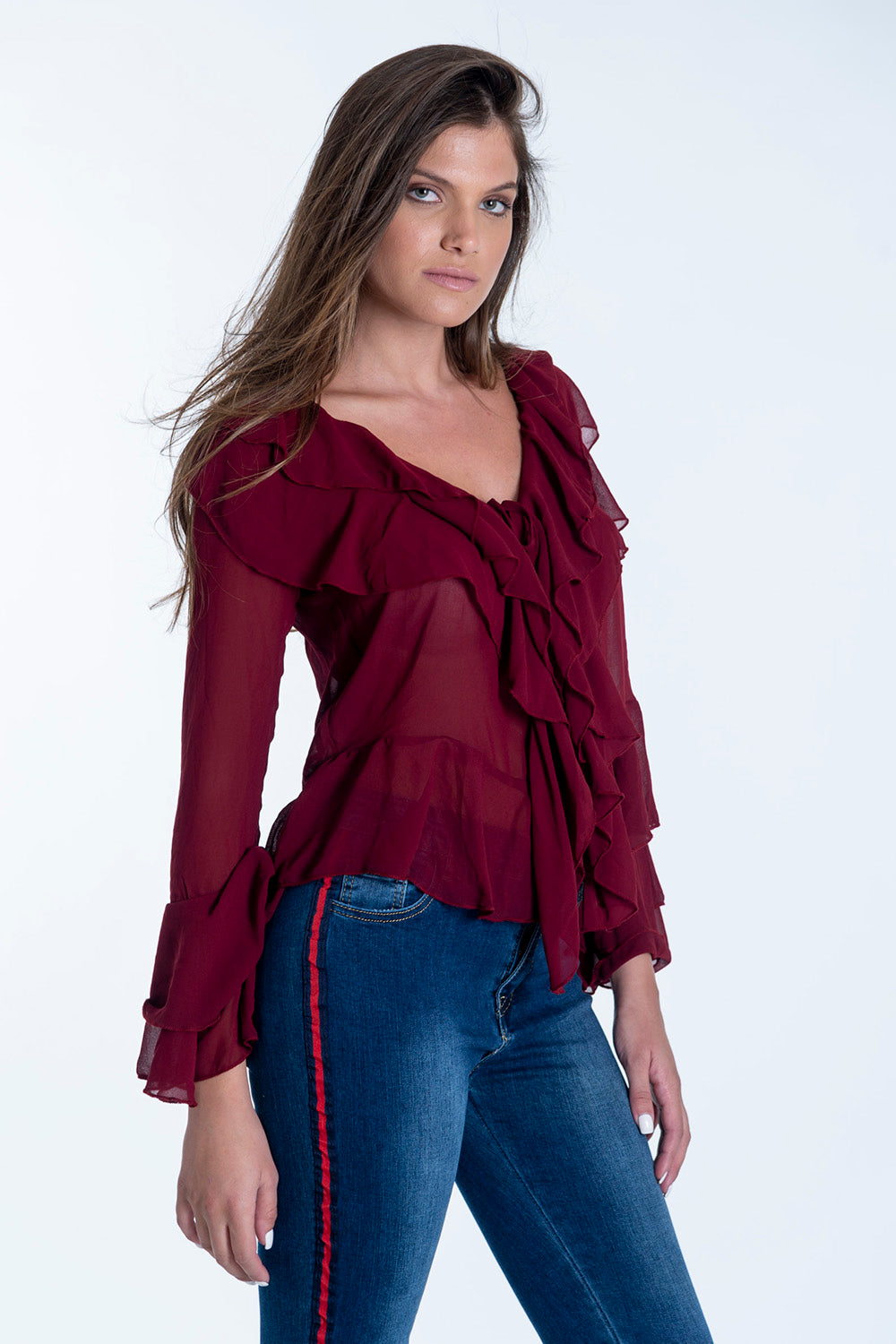 Bojo see through chiffon top with frills