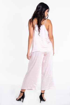 Sh baby pink silk culotte trousers co-ord