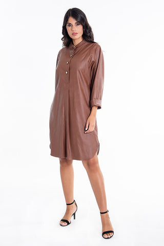 Teem oversized leather shirt with side split