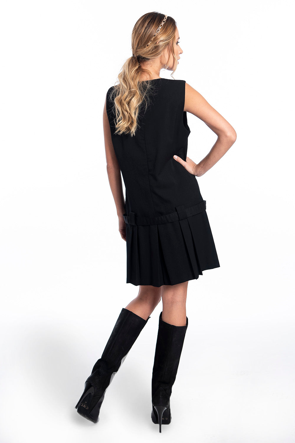 A line mini dress with pleated details