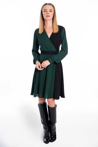 Akè black and green chiffon panel dress