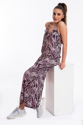 Comme des Fuckdown fuchsia zebra dress with plunge frills
