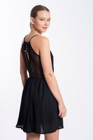 Akè halter black mini dress with plunge and glam details