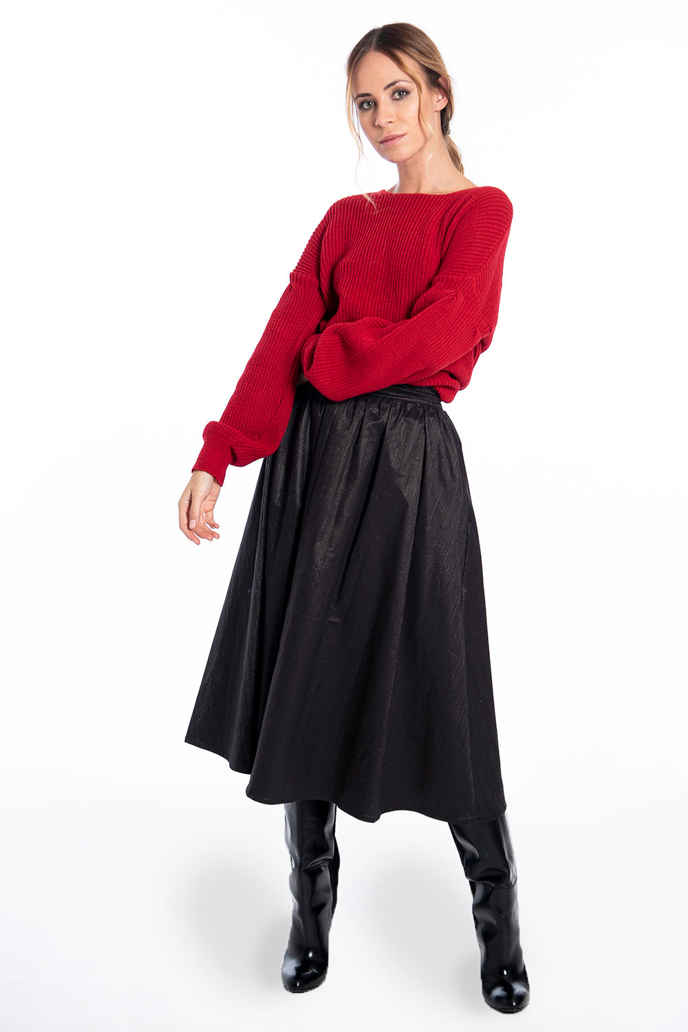 Patrizia Segreti textured fabric midi skirt with waistband