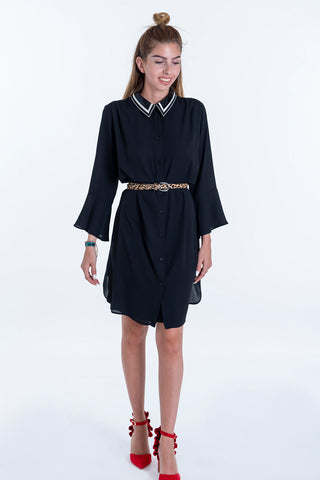 Akè chiffon dress with sequin collar