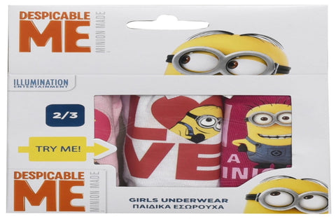 Minions pack of 3 girls slips
