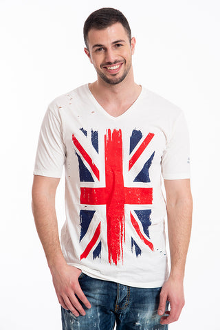 Gianni Lupo white top with UK flag and splits