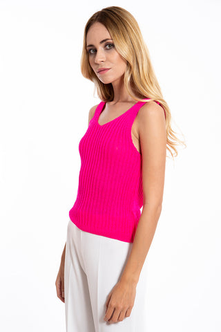 Akè knit top in fuchsia