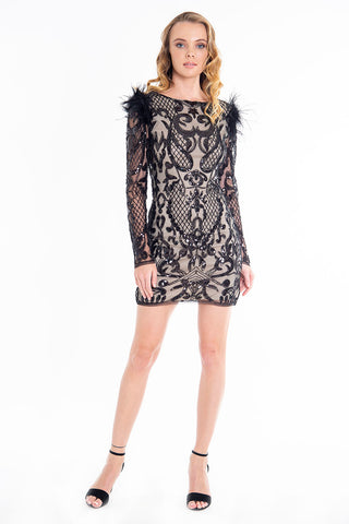 Feathers, lace and sequins mini dress