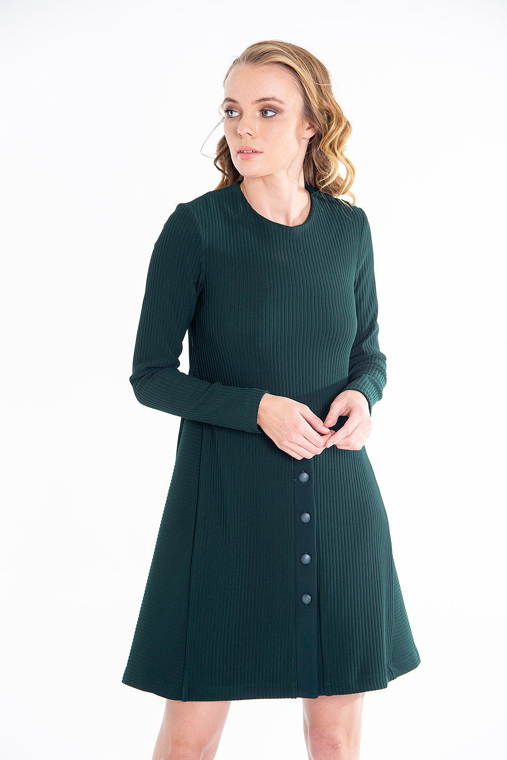 Teem ribbed structured dress with long sleeves