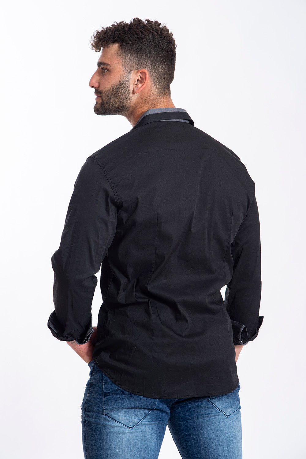 Paolo di Matteo basic black shirt with trim detail