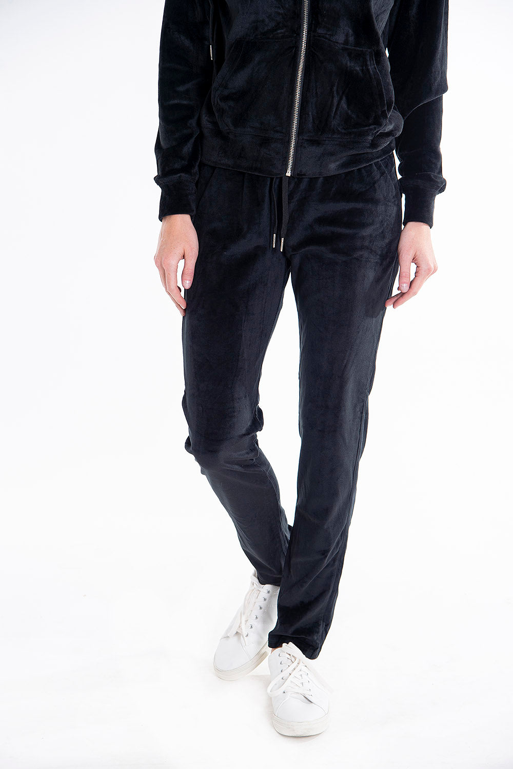 Velvet tracksuit zipped hoodie and jogger