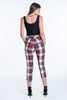 C-Throu check in high waist trousers with buttons