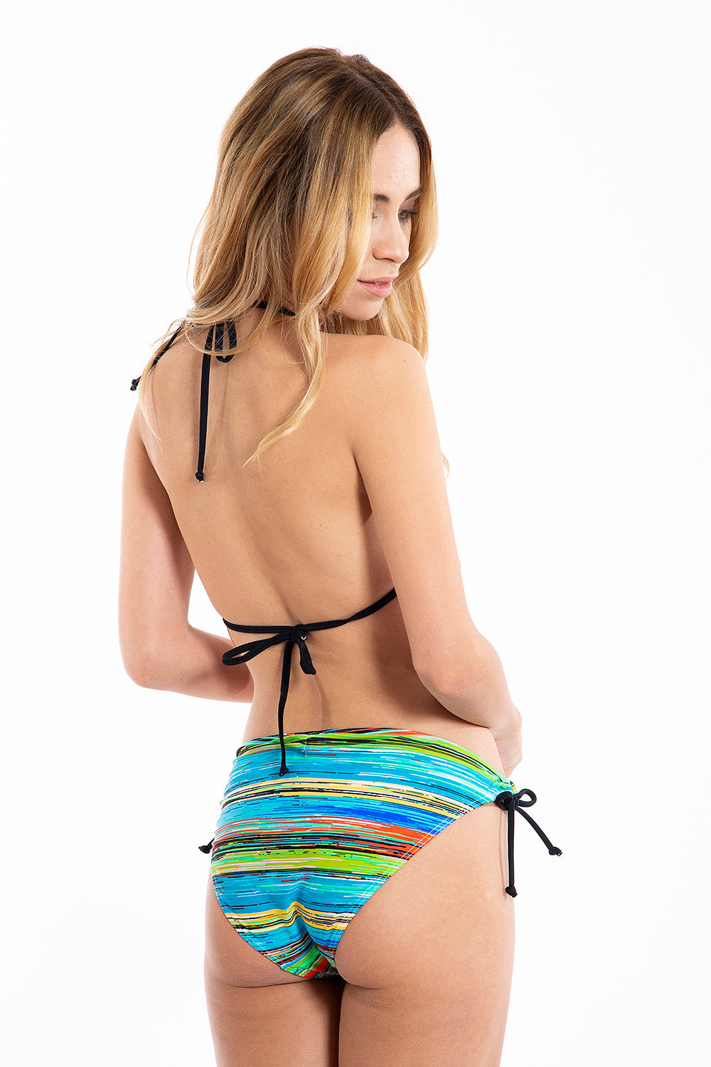 Colourful stripes padded triangle mix and match bikini top