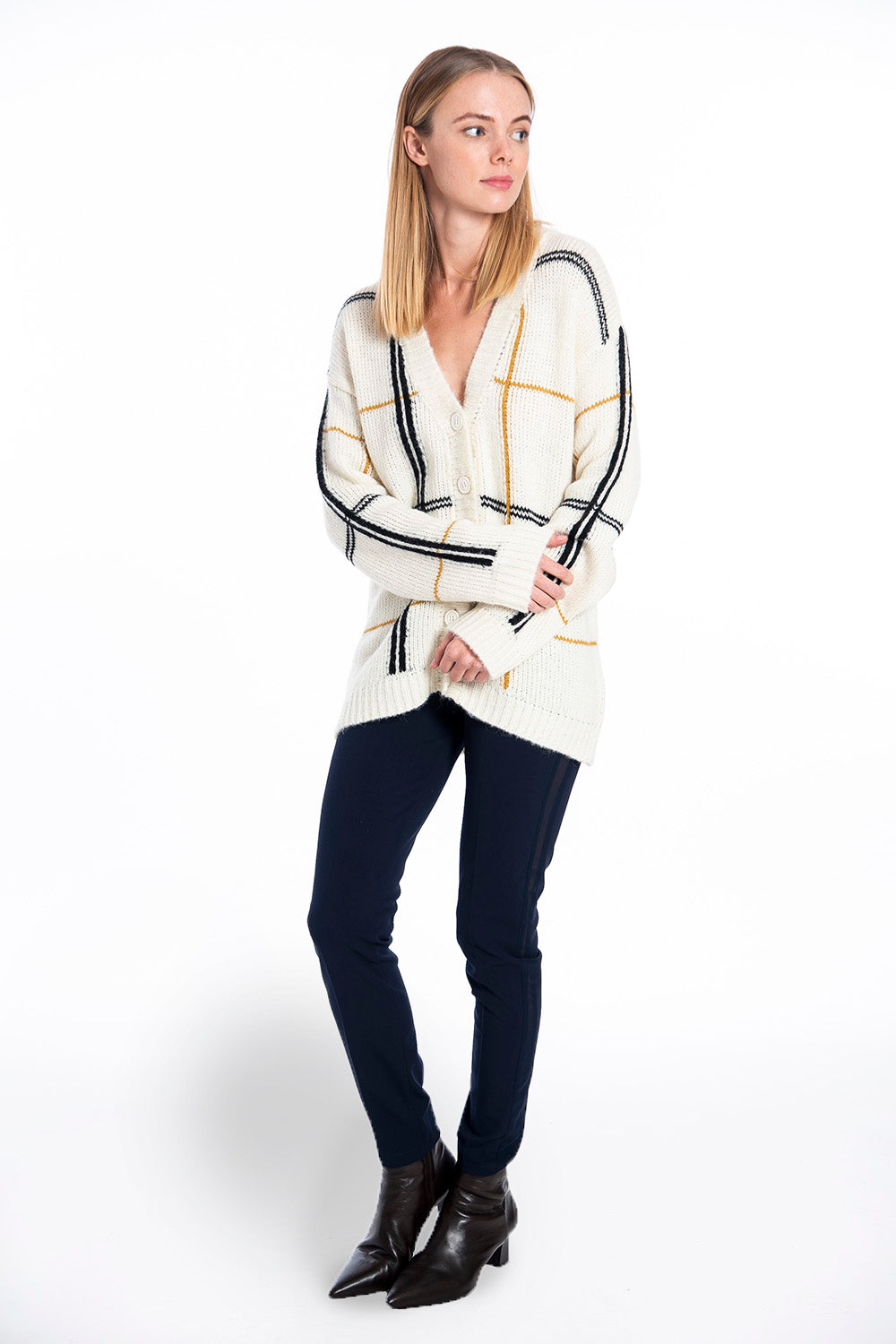 Infinity Knitwear cardigan with geometric lines