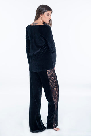 Pixie side lace velvet trousers