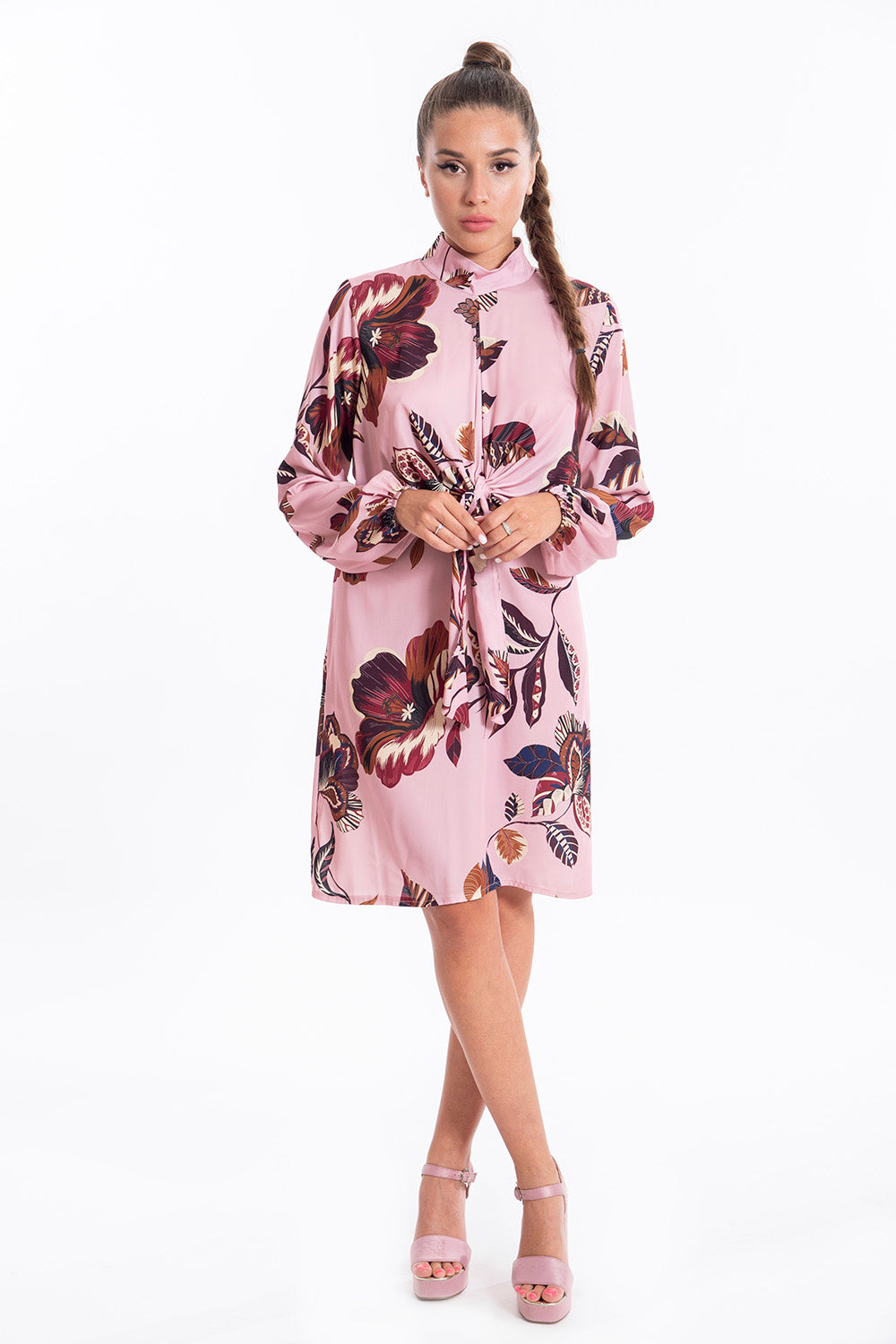 Akè front tie floral long sleeved dress