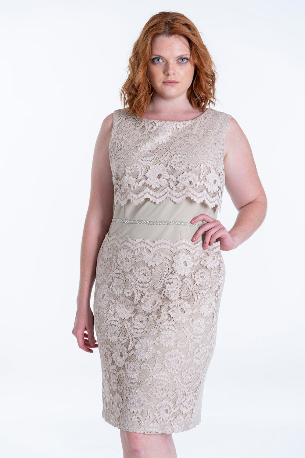 Lace co-ord dress with  pearls in waist