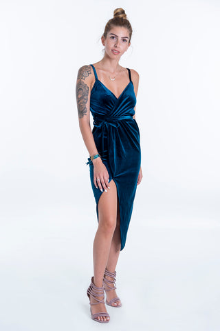 Cami velvet dress with wrap front