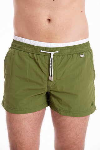 David plain khaki swim shorts