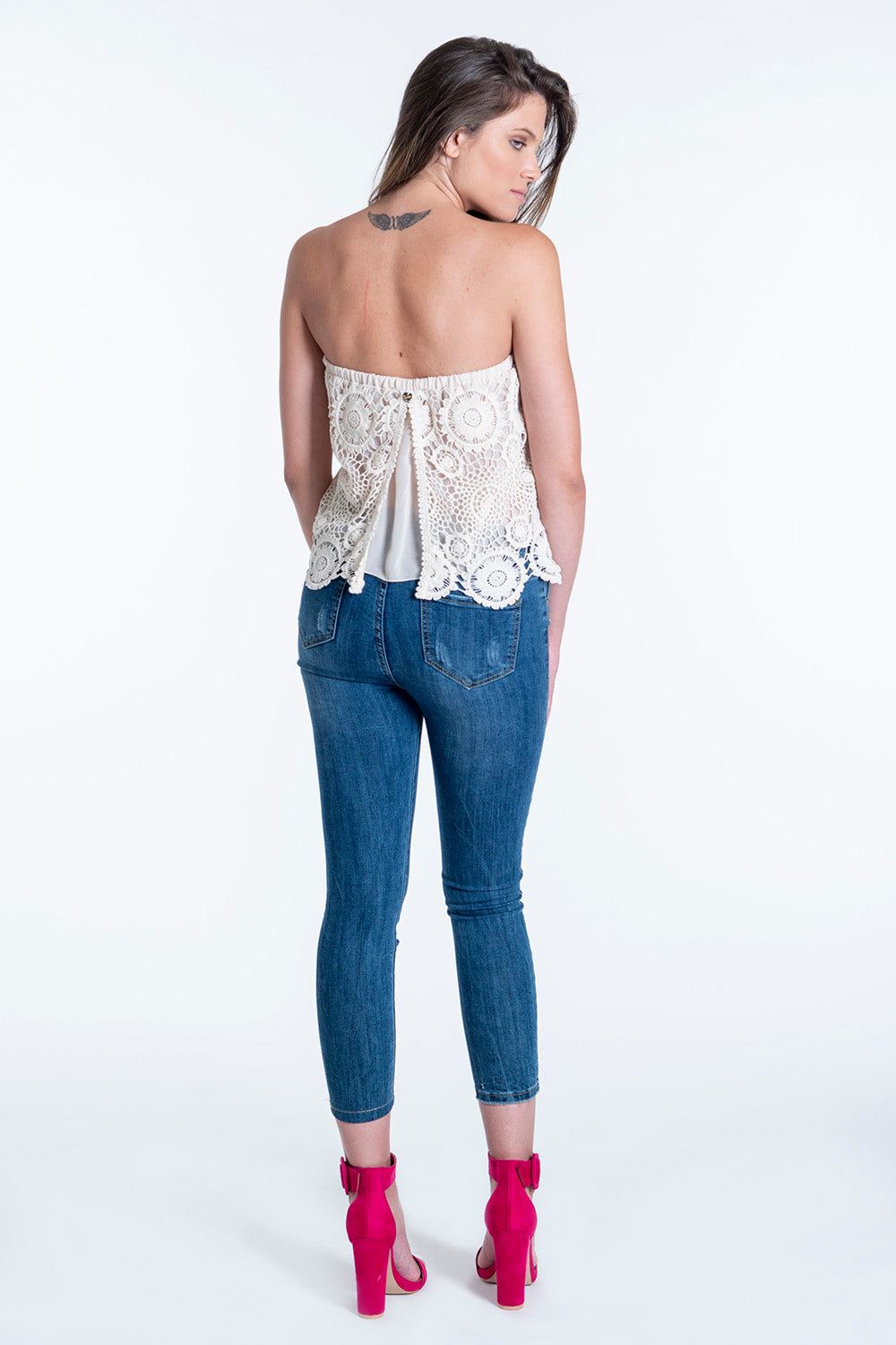 Le vertige lace strapless cropped top