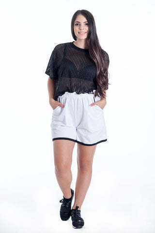 Disu high waist shorts with frills details