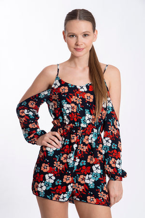 Parisian floral off shoulder playsuit