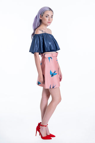Milkwhite woolish pink mini skirt with birds