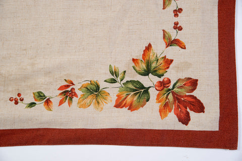 Bardwil linens centerpiece with warm harvest tones