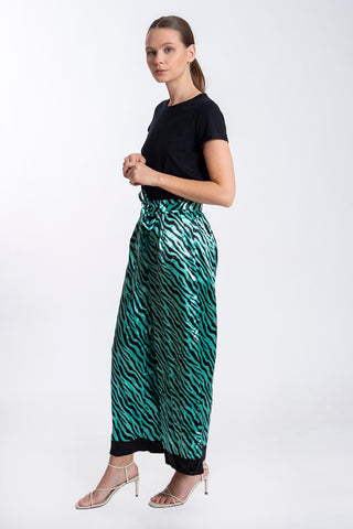 Vie Revee ankle long zebra print trousers