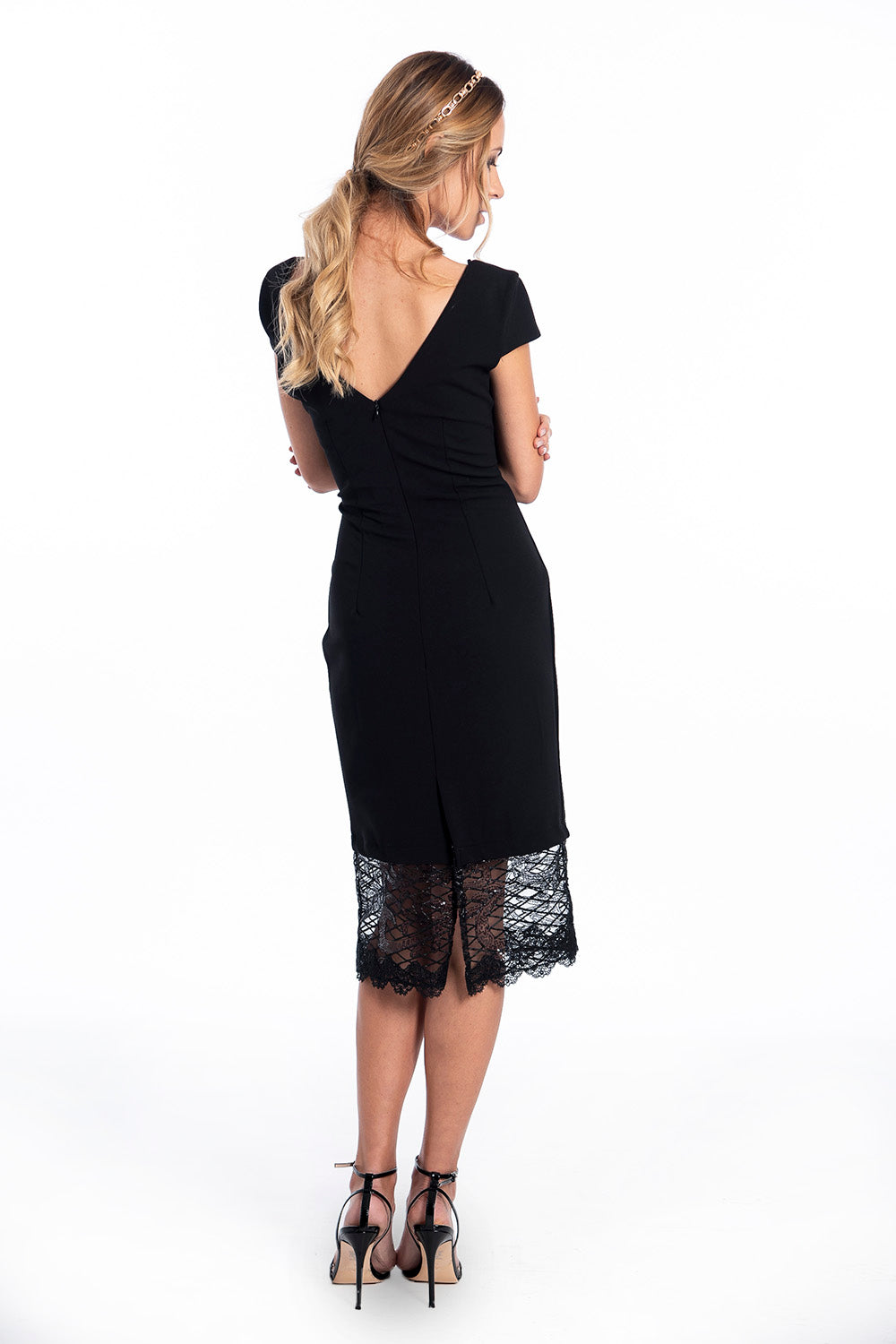 Rinascimento bardot pencil skirt with lace and sequins bottom details