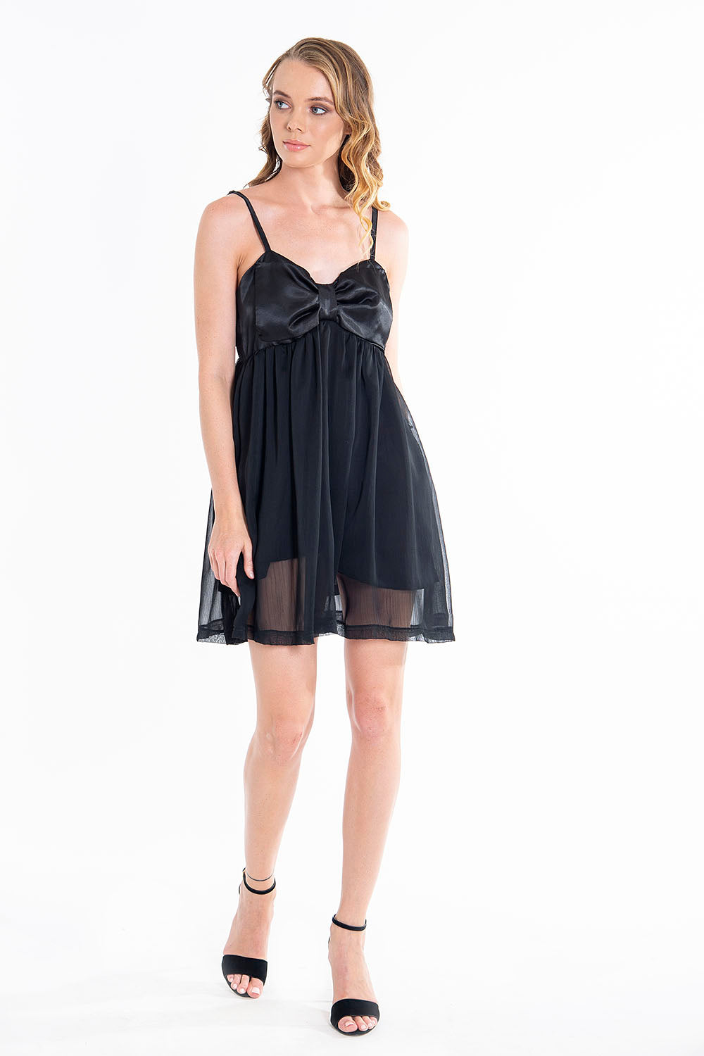Romantic chiffon and silk cami dress
