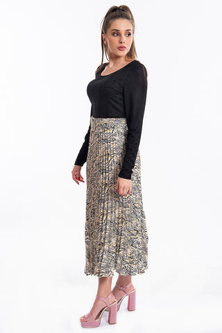 Glamorous geometric pleated skirt with belt