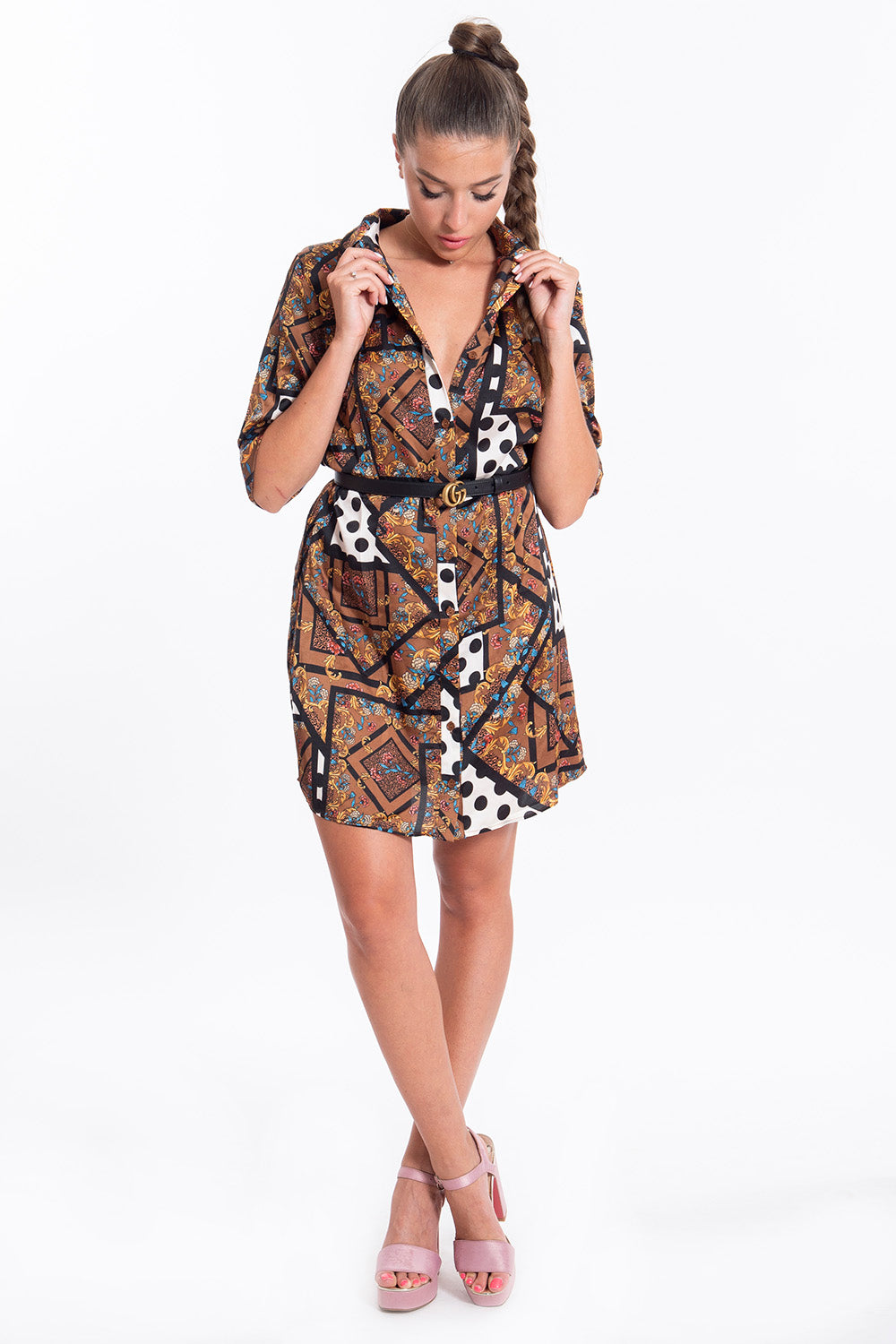 Glamorous scarf design shirt dress with long sleeves