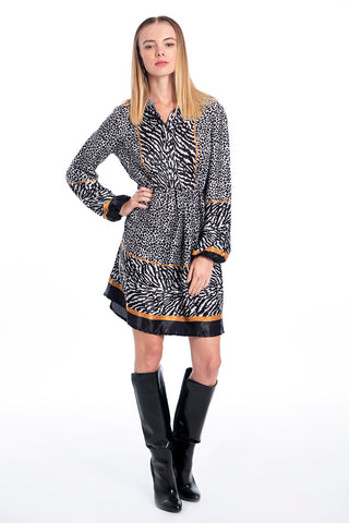NúNu shirt long sleeves dress in zebra patterns and waist cut