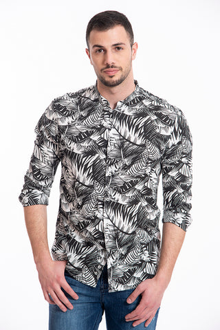 Paolo di Matteo linen black and white floral shirt in mandarin collar