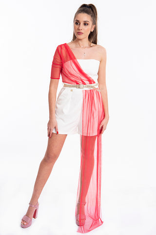 Gil Santucci playsuit with tulle overall
