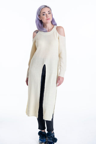 Jovonna high neck long knit with cut sleeves and splits