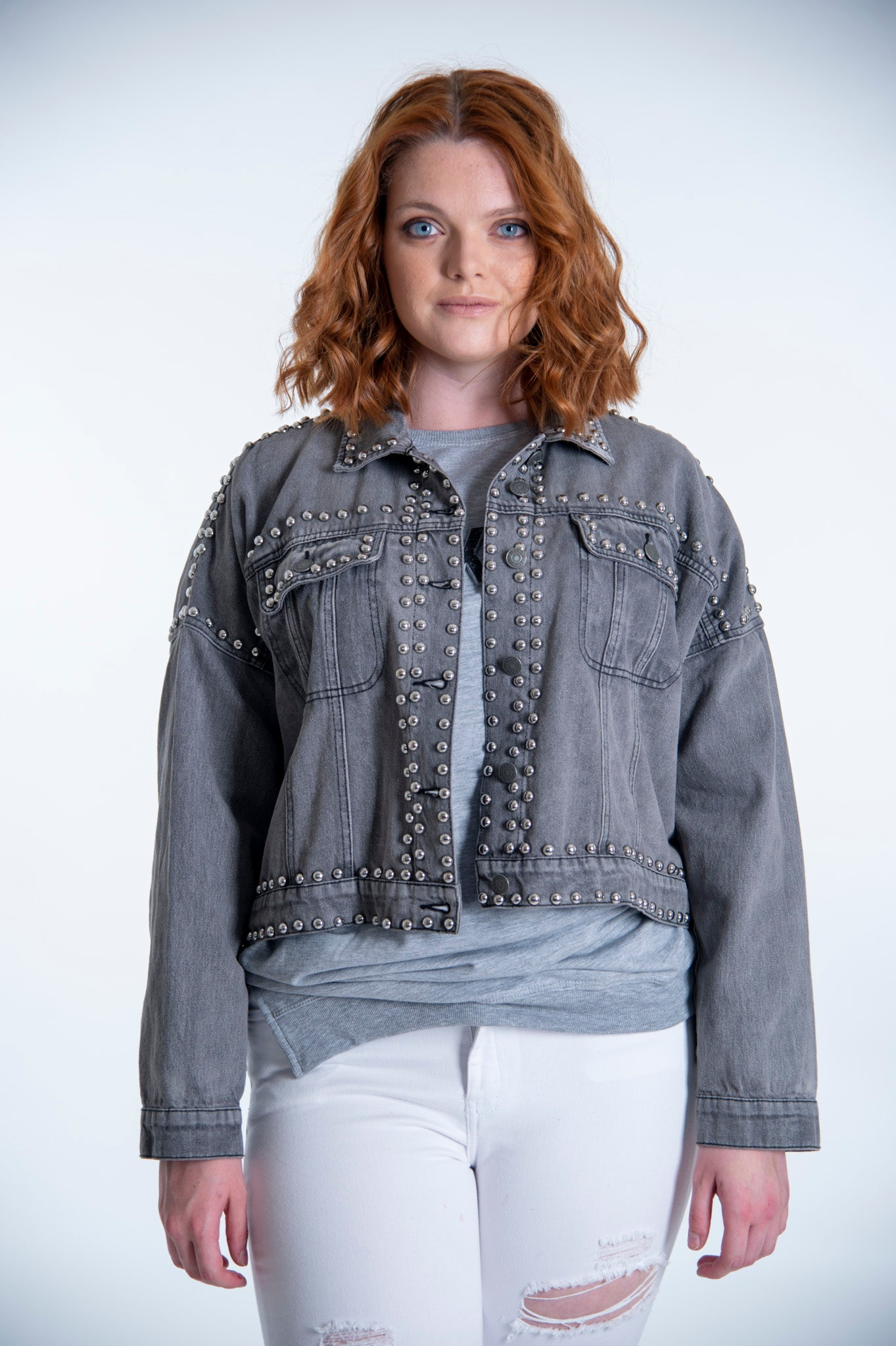 Ciminy Paris oversized jacket with silver studs