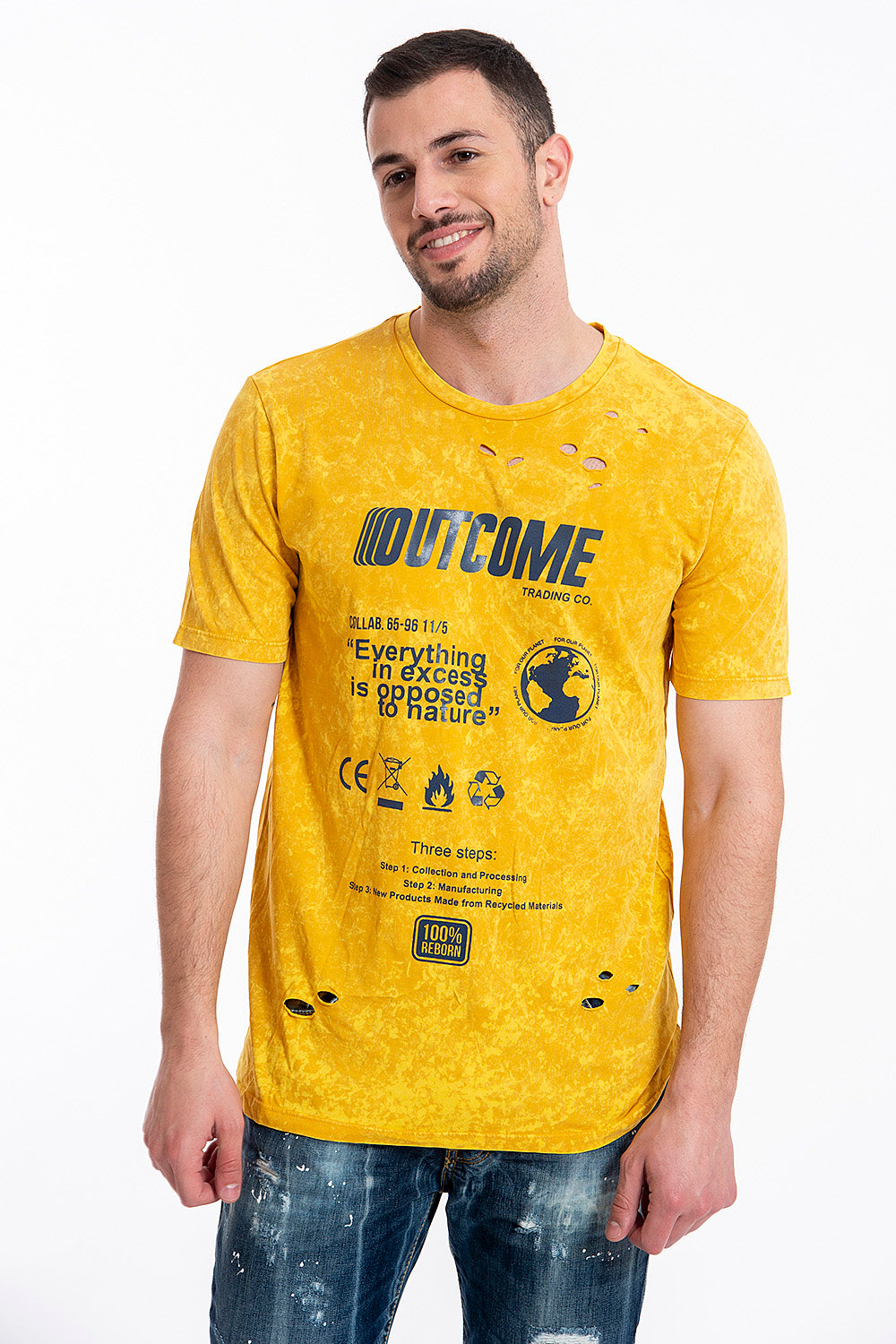 Outcome t-shirt with texts and symbols
