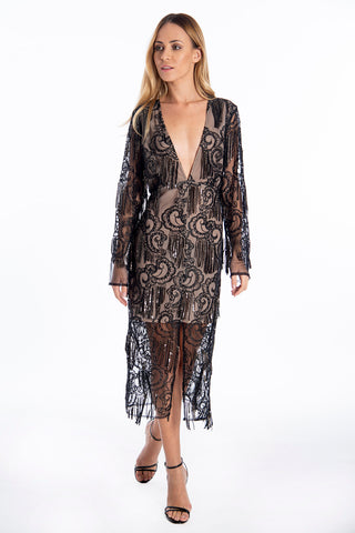 True Decadence midi dress with lace and sequins