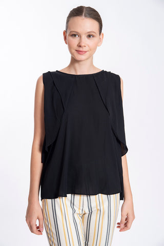 Akè ruffles sleeveless black top