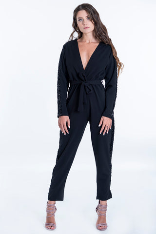 Maxi jumpsuit with wrap waist and sequins on a side stripe