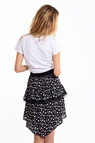 Akè asymmetric floral skirt with ruffles