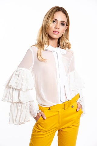LM Lulu extreme sleeves shirt top with tie neck