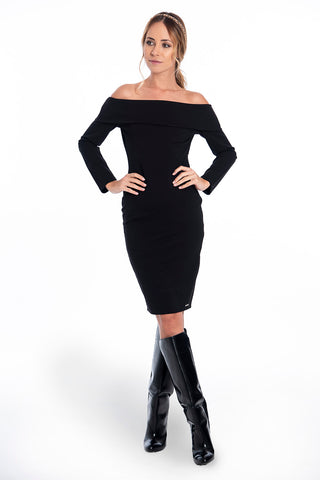 Akè bardot midi pencil dress with long sleeves